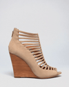 Rebecca Minkoff Natural Open Toe Caged Wedge Booties Sydney