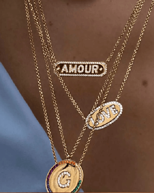 Apm Monaco Collection Valentine Amour Adjustable Necklace - Yellow Silver