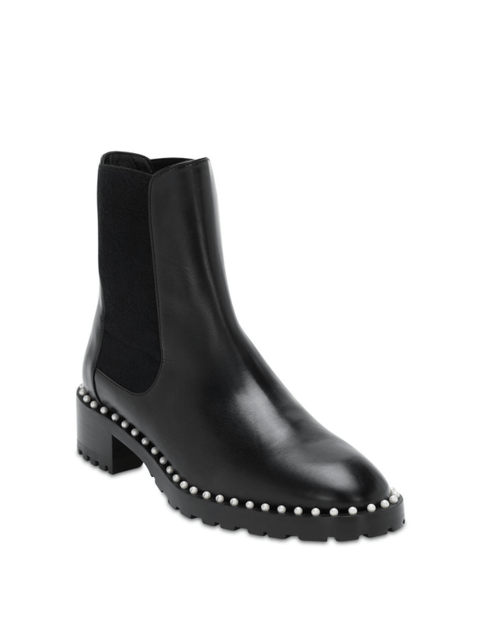Stuart Weitzman Black Leather 25mm Ashlyn Beatle Boots