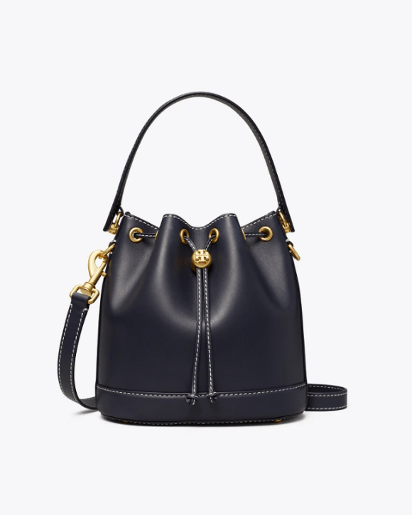 Tory Burch T Monogram Leather Bucket Bag, Black