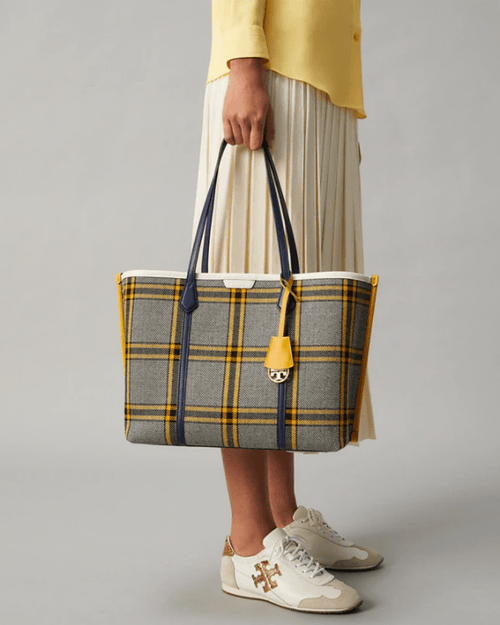 Tory Burch Perry Plaid Triple-Compartment Tote