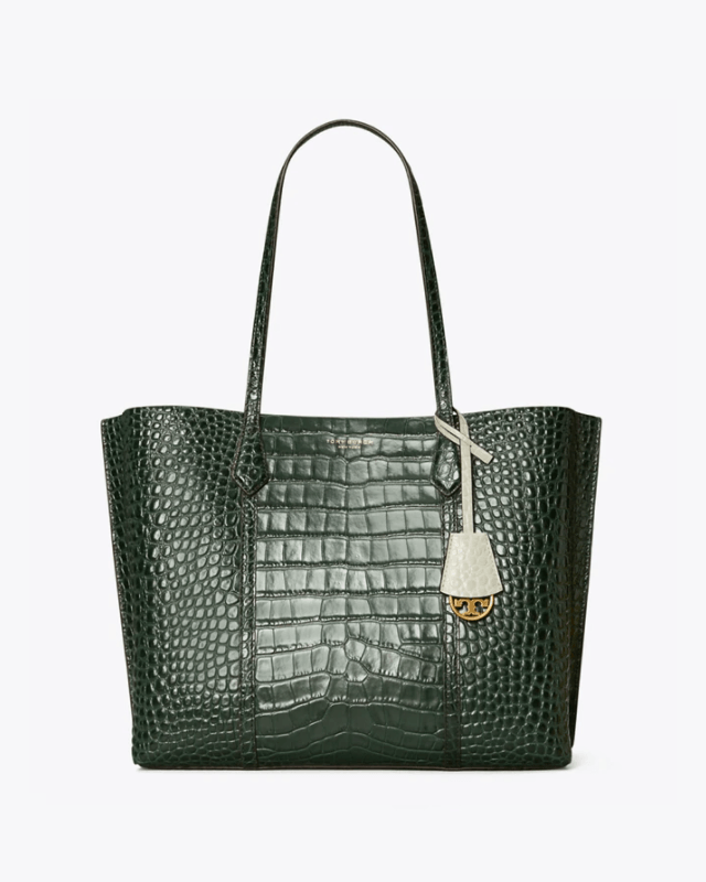 Tory Burch Perry Embossed Triple-Compartment Tote Bag, Deep Kelp