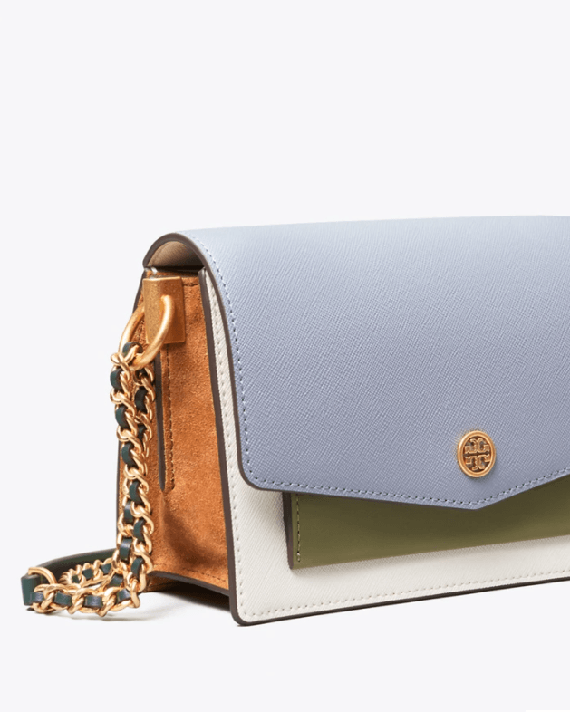 Tory Burch Robinson Color-Block Mini Shoulder Bag, Cloud Blue