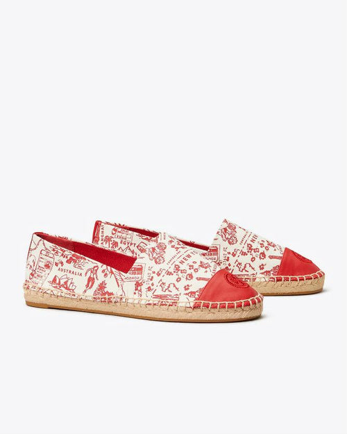Tory Burch Printed Color-Block Espadrilles