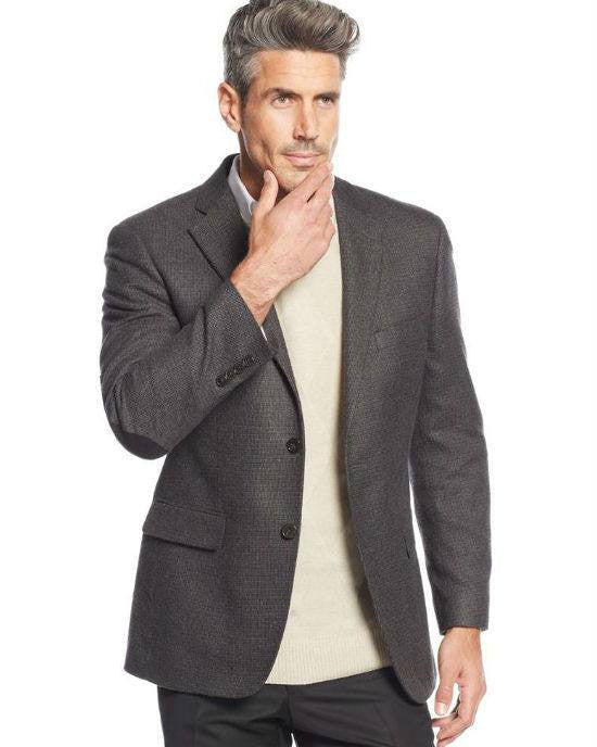 Greg Norman for Tasso Elba Charcoal Neat Elbow Patch Sport Coat-GREG NORMAN-Fashionbarn shop