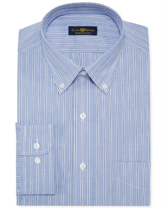 Club Room Estate Wrinkle Resistant Blue End-on-End Stripe Dress Shirt-CLUB ROOM-Fashionbarn shop