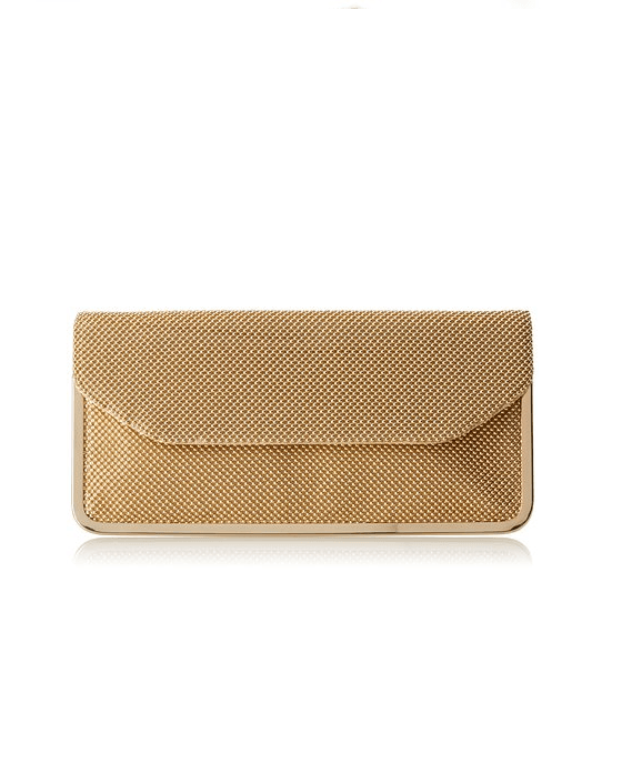 La Regale Metallic Champagne Beaded Mesh Clutch - Fashionbarn shop