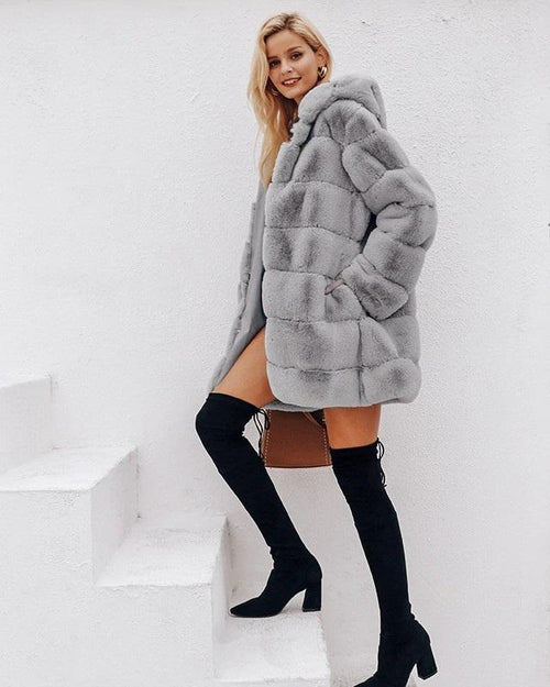 Simplee Hood Faux Fur Coat