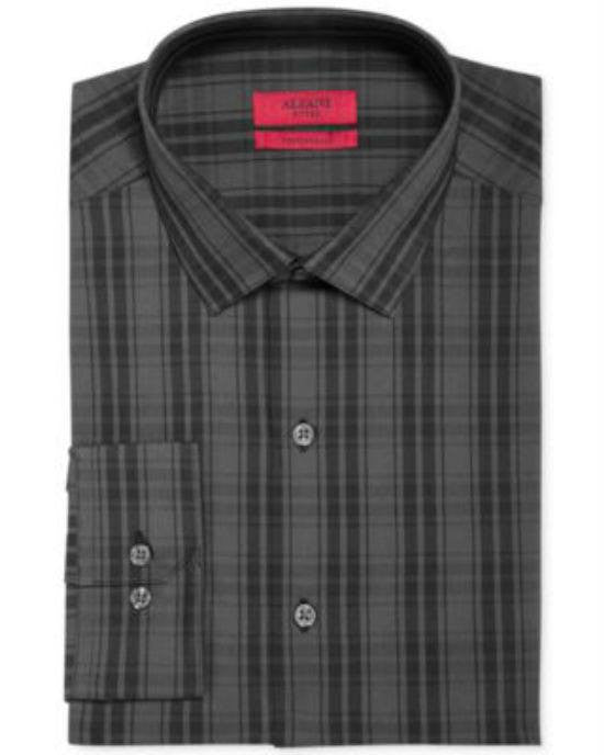 Alfani RED Fitted Black Mega Shadow Plaid Performance Dress Shirt-ALFANI-Fashionbarn shop
