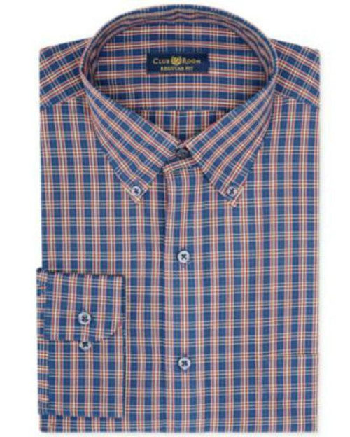Club Room Estate Wrinkle Resistant Navy Crimson Tartan Dress Shirt-CLUB ROOM-Fashionbarn shop