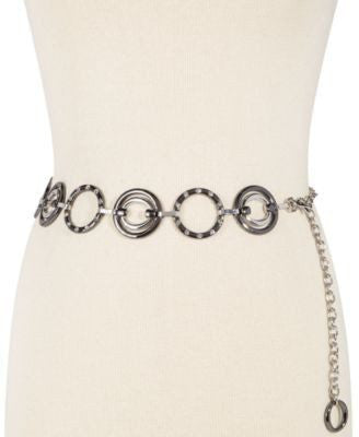 Style Co. Circle Stone Chain Belt Black LXL - Fashionbarn shop