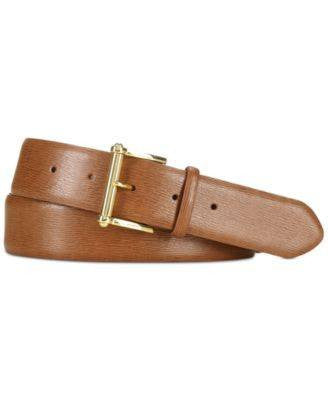 Lauren Ralph Lauren Saffiano Leather Belt Lauren Tan M - Fashionbarn shop