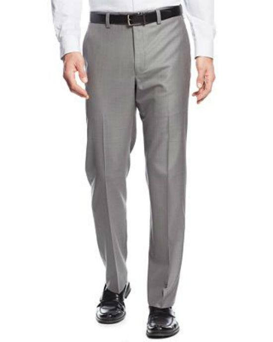Lauren Ralph Lauren Mid-Grey Neat Microfiber Dress Pants-LAUREN RALPH LAUREN-Fashionbarn shop