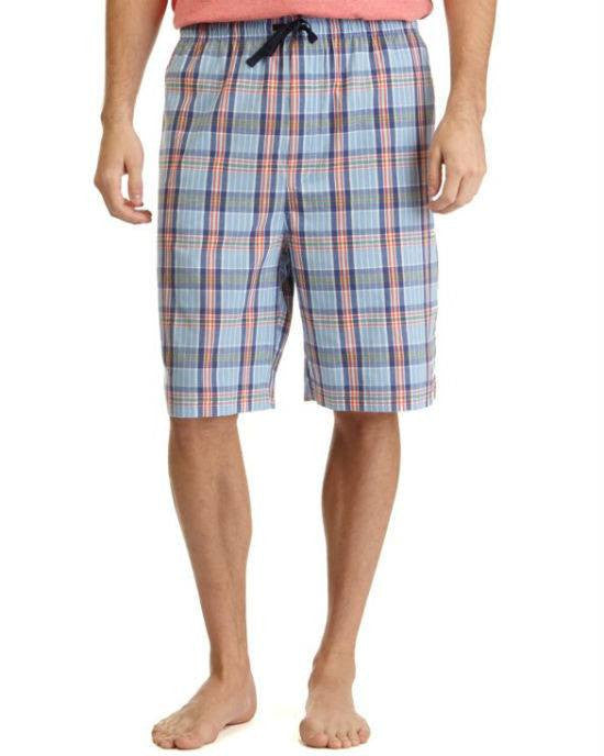Nautica Cotton Plaid Woven Sleep Short Porthole Blue-NAUTICA-Fashionbarn shop