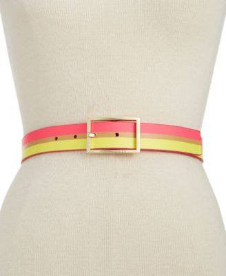 Vince Camuto Screen Print Stripe Belt Sand S - Fashionbarn shop