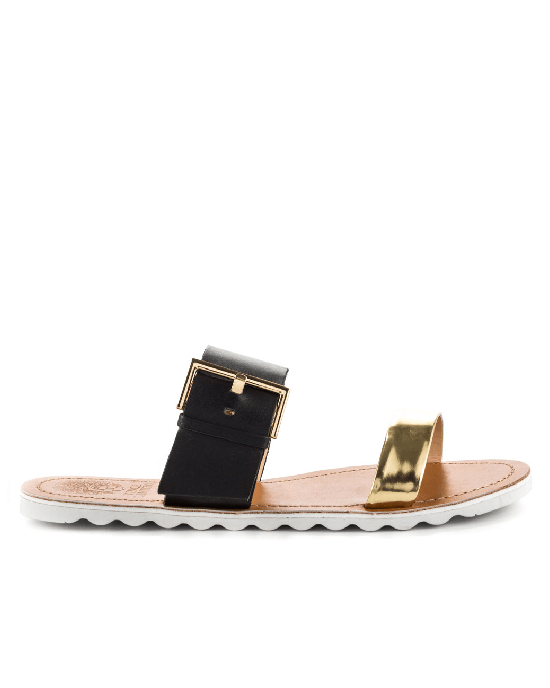 VINCE CAMUTO Motter Cleo Gold Black Mirror Met-VINCE CAMUTO-Fashionbarn shop