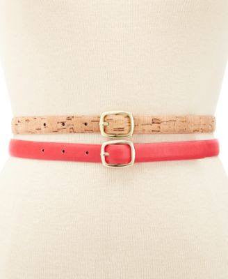 Style Co. 2 for 1 Reversible Belts CoralNatural L - Fashionbarn shop