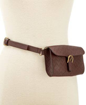 Style Co. Perforated Fanny Pack Brown M - Fashionbarn shop