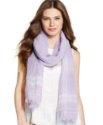 Polo Ralph Lauren Linen Gauze Plaid Wrap Lilac - Fashionbarn shop