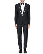 McQ Alexander McQueen Black Logo Tape Trim Wool-blend Tuxedo Jacket-ALEXANDER MCQUEEN-Fashionbarn shop