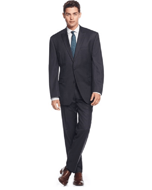 Calvin Klein Navy Pinstripe Peak Lapel Slim-Fit 2 Piece Suit-CALVIN KLEIN-Fashionbarn shop