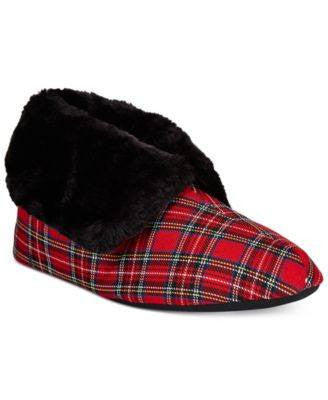 Charter Club Tartan Plaid Bootie Memory Foam Slippers, Only at Macy's - Fashionbarn shop