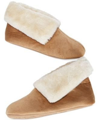 Charter Club Microvelour Bootie Slippers Wine L - Fashionbarn shop
