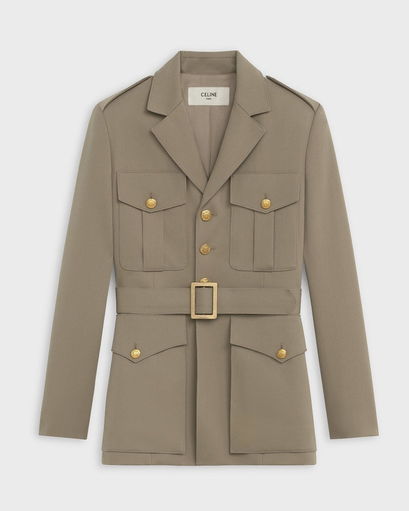 Celine Military Jacket In Diagonal Wool