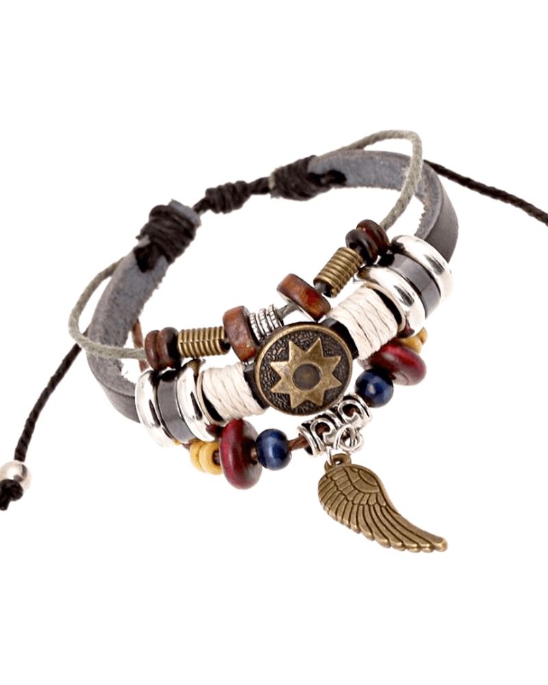 Steffe Unique Totem of the Sun Handmade Braided Adjustable Leather Bracelet