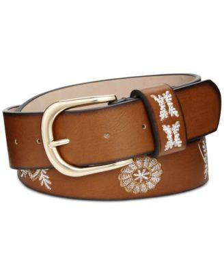 Style Co. Embroidered Jean Belt Cognac L - Fashionbarn shop