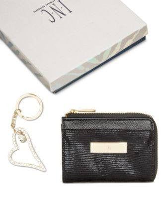 INC International Concepts 2 Piece Card Holder Key Chai Black Soft Exotic - Fashionbarn shop