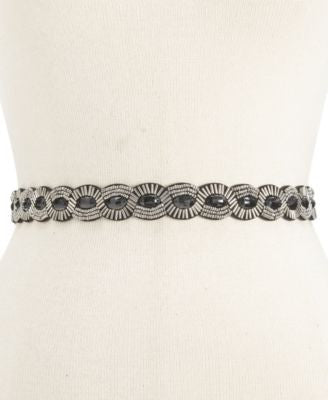 Style Co. Scalloped Beaded Stretch Belt BlackSilver ML - Fashionbarn shop