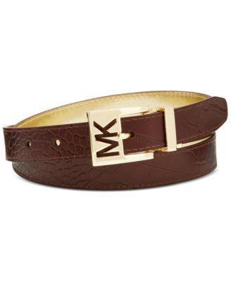 MICHAEL KORS Reversible Croc Embossed Leather MK Logo Belt - Fashionbarn shop