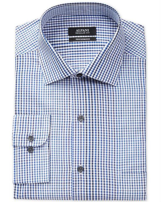 Alfani RED Fitted Performance Blue Optic Check Dress Shirt-ALFANI-Fashionbarn shop