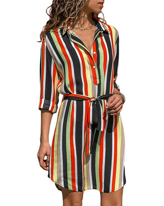 Women's A-Line Print Long Sleeve Shirt Dress