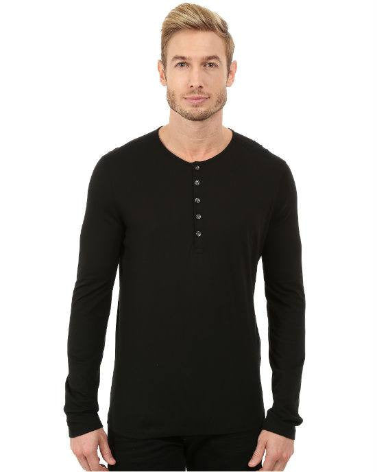 John Varvatos Star USA Long Sleeve Knit Henley with Shoulder Seam Details-JOHN VARVATOS STAR USA-Fashionbarn shop