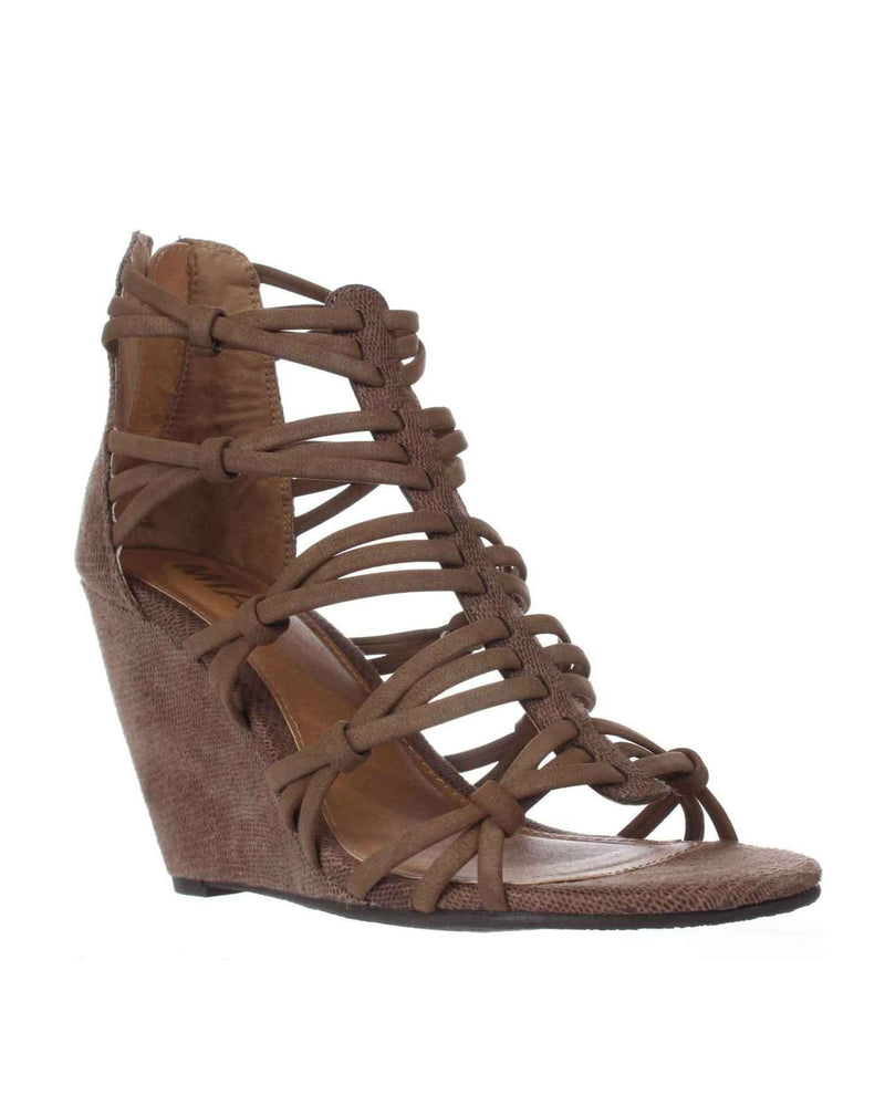 MIA Womens Mia Dylon Wedge Strappy Sandals - Taupe Vintage Lizard