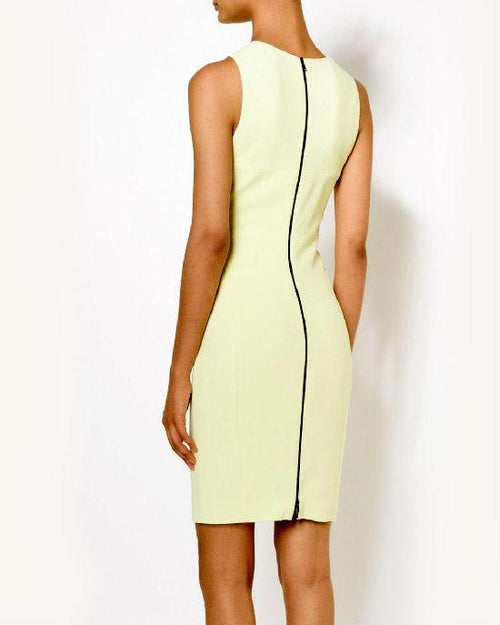 Narciso Rodriguez Scuba Dress Solid Fitted Citrine Jewel Neck