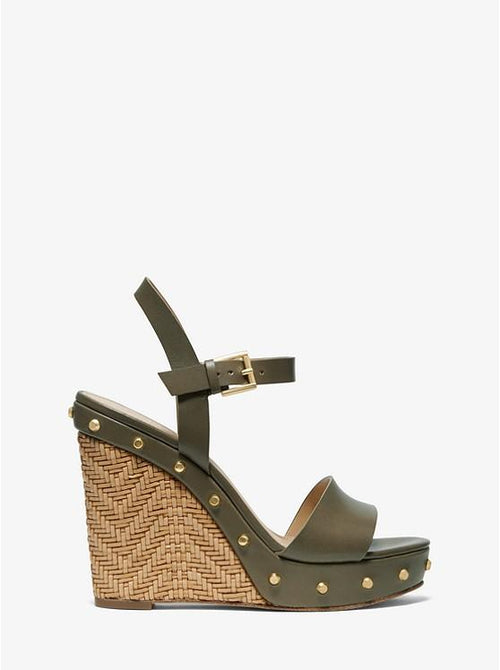 MICHAEL MICHAEL KORS Ellen Leather Wedge Sandals