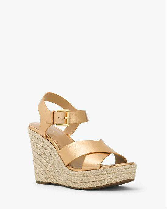 MICHAEL MICHAEL KORS Kady Metallic Leather Wedge Sandals