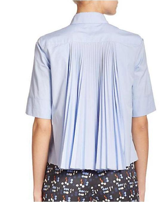 Akris Punto Poplin Plisse-Back Shirt, Blue