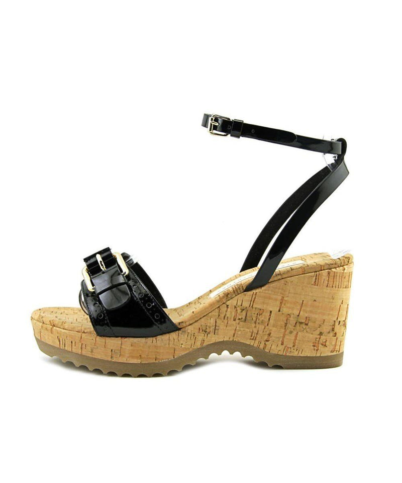 STELLA MCCARTNEY Lorien Open Toe Patent Leather Black Wedge Sandal