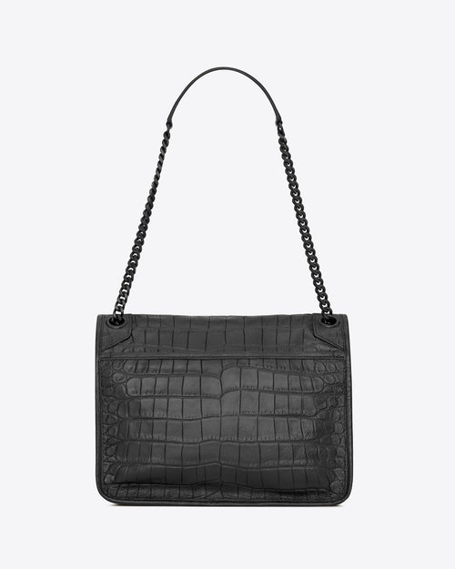 Saint Laurent Medium Niki Croc-Embossed Leather Shoulder Bag