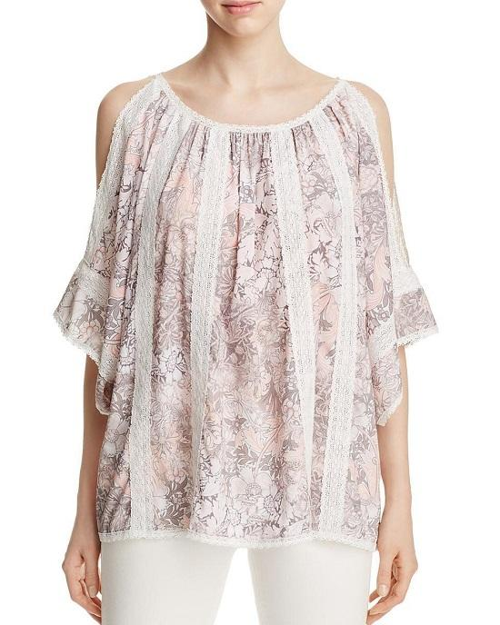 T Tahari Womens Cambria Crochet Floral Print Peasant Top