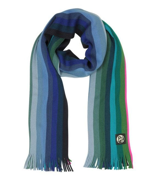 PAUL SMITH Men's Blue To Green Gradient Stripe Neon Edge Wool Scarf