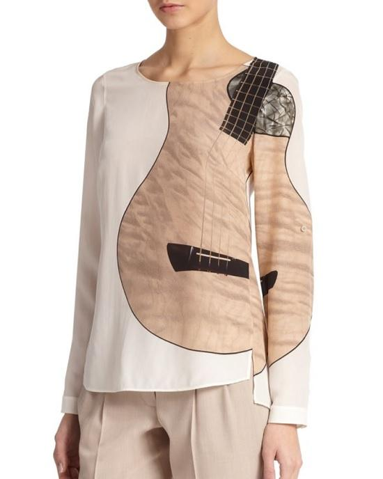 Akris Punto Natural Guitar-Print Silk Blouse