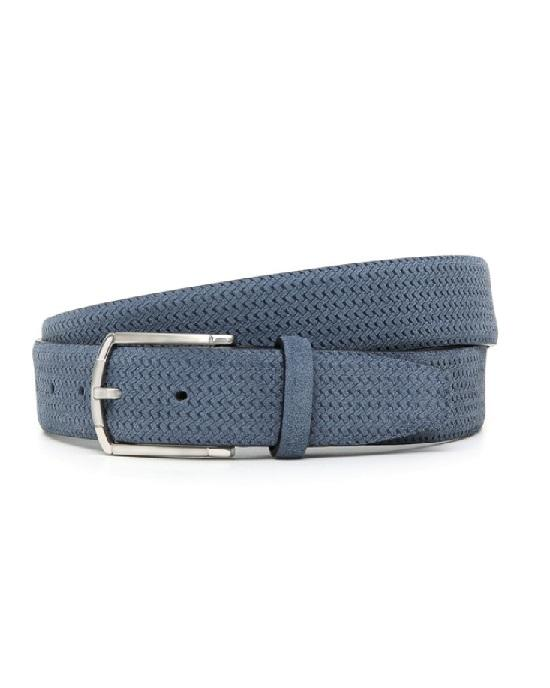 Canali Blue-Grey Suede Leather Belt With Woven Texture