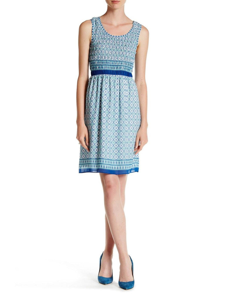 Max Studio Women's Blue Sleeveless Smocked Border Print Dress