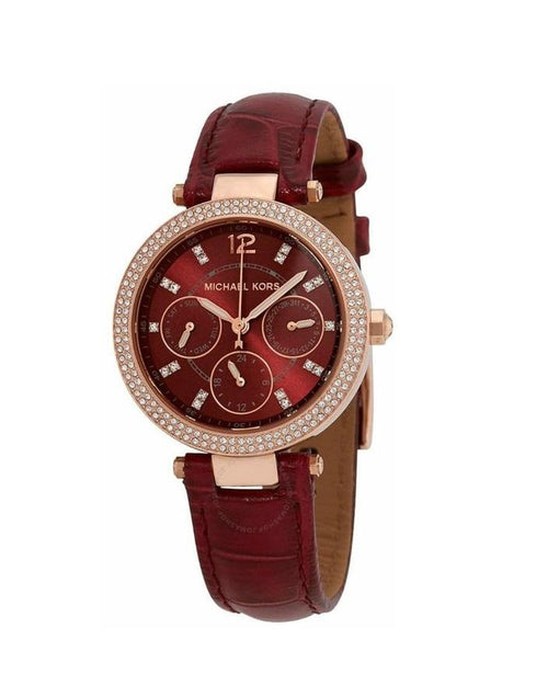 Michael Kors Mini Parker Multifunction Red Strap Watch MK6451
