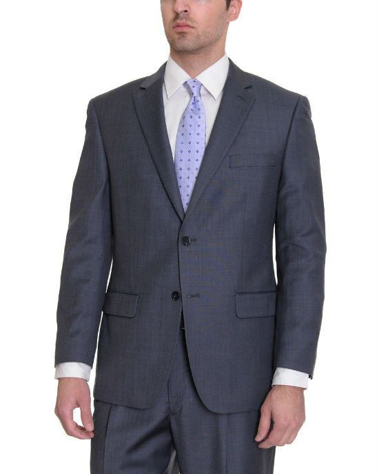 Tasso Elba Classic Fit Mid Blue Textured Stepweave Two Button Wool 2 Piece Suit-Tasso Elba-Fashionbarn shop
